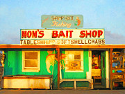 Old Town Digital Art Framed Prints - Bait Shop 20130309-1 Framed Print by Wingsdomain Art and Photography