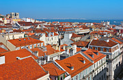 Rooftop Prints - Baixa City Center of Lisbon Panoramic View Print by Kiril Stanchev