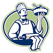 Isolated Digital Art - Baker Chef Cook Serving Pie Retro by Aloysius Patrimonio