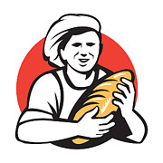 Loaf Art - Baker Holding Bread Loaf Retro by Aloysius Patrimonio