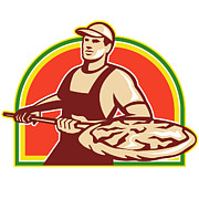 Pizza Prints - Baker Holding Peel With Pizza Pie Retro Print by Aloysius Patrimonio