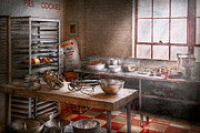 Floor Photo Prints - Baker - Kitchen - The commercial bakery  Print by Mike Savad