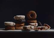 Donuts Painting Prints - Bakers Dozen Print by Larry Preston