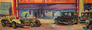 Antique Automobiles Painting Framed Prints - Bakotown Cars Framed Print by Gita Lloyd