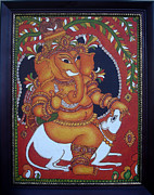 Ganapathi Paintings - Bala-Ganapathi- the mischievous.  by Anu Edasseri