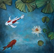 Koi Painting Posters - Balanced Poster by Eve  Wheeler