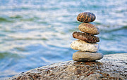 Pebbles Posters - Balanced Pebbles Poster by Charline Xia