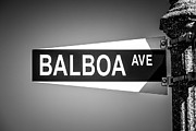 Signpost Framed Prints - Balboa Avenue Street Sign Black and White Picture Framed Print by Paul Velgos