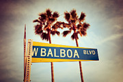 1970s Framed Prints - Balboa Blvd Street Sign Newport Beach Photo Framed Print by Paul Velgos
