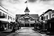 Southern Buildings Posters - Balboa California Main Street Black and White Picture Poster by Paul Velgos