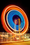 Ferris Wheel Framed Prints - Balboa Fun Zone Ferris Wheel at Night Picture Framed Print by Paul Velgos