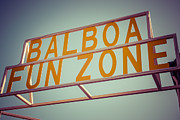 1950s Photo Framed Prints - Balboa Fun Zone Sign Newport Beach Vintage Photo Framed Print by Paul Velgos