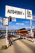 Balboa Island Framed Prints - Balboa Island Auto Ferry in Newport Beach California Framed Print by Paul Velgos