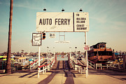 Newport Beach Prints - Balboa Island Ferry Newport Beach Vintage Picture Print by Paul Velgos