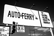 Newport Posters - Balboa Island Ferry Sign Black and White Picture Poster by Paul Velgos
