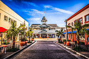 Businesses Photo Framed Prints - Balboa Main Street in Newport Beach Picture Framed Print by Paul Velgos