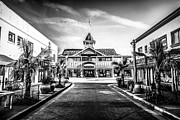 Shops Photos - Balboa Pavilion Newport Beach Black and White Picture by Paul Velgos