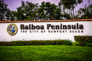 Municipal Photo Prints - Balboa Peninsula Sign for City of Newport Beach Picture Print by Paul Velgos