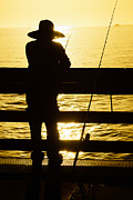 Balboa Peninsula Posters - Balboa Pier Fisherman Fishing in Newport Beach California Poster by Paul Velgos