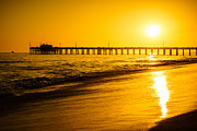 America Photography Prints - Balboa Pier Sunset in Orange County California Picture Print by Paul Velgos