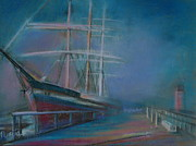 Landmark Pastels Prints - Balclutha in the mist Print by Pusita Gibbs