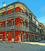 French Quarter Digital Art Framed Prints - Balconies painted Framed Print by Steve Harrington