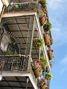 Hanging Baskets Prints - Balcony Print by Beth Vincent