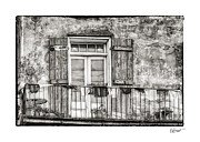 French Door Prints - Balcony View in Black and White Print by Brenda Bryant
