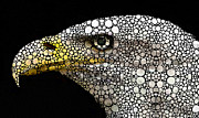 Pebbles Posters - Bald Eagle Art - Eagle Eye - Stone Rockd Art Poster by Sharon Cummings