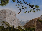 National Parks Paintings - Bald Eagle at Yosemite by April Moseley