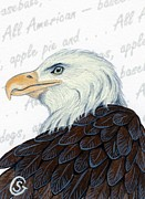Baseball Art Painting Posters - Bald Eagle -- Proud to be an American Poster by Sherry Goeben