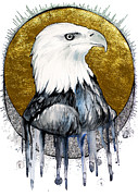 Animal Mixed Media Metal Prints - Bald eagle Metal Print by Slaveika Aladjova