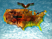 Abstract Map Painting Prints - Bald Eagle U.S. Map Print by Daniel Janda