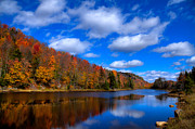 Evergreen Trees Photo Posters - Bald Mountain Pond in Autumn Poster by David Patterson