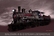Gunter Nezhoda Metal Prints - Baldwin 4-6-0 Steam Locomotive Metal Print by Gunter Nezhoda