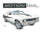 Chevy Drawings - Baldwin Motion Nova by Shannon Watts