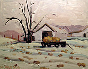 Hay Bales Painting Framed Prints - Bale Wagon  Framed Print by Charlie Spear