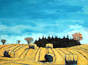 Hay Bales Painting Framed Prints - Baleful Day Framed Print by Charlie Spear