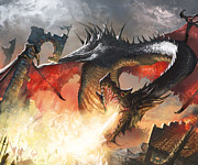 Fantasy Digital Art Prints - Balerion The Black Print by Ryan Barger