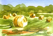 Water Colors Painting Originals - Bales in the Morning Sun by Kip DeVore