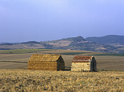 Agricultural Landscape Framed Prints - Bales of straw stacked in the shape of a house next to a little stone house. Limagne. Auvergne. Fran Framed Print by Bernard Jaubert
