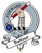 Genealogy Posters - Balfour Clan Badge Poster by Heraldry