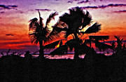 Palms Posters - Bali Sunset impasto paint version Poster by Steve Harrington