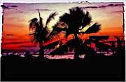 Palms Posters - Bali Sunset polaroid transfer  Poster by Steve Harrington