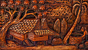 Village Life Prints - Bali Wood Carving Print by Steve Harrington