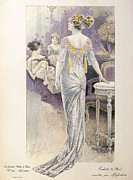 Ball Gown Drawings Metal Prints - Ball Gown Metal Print by French School