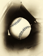 Baseball Art Prints - Ball in Glove Print by John Rizzuto