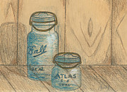 Color Pencil Drawings - Ball Jars by Lew Davis