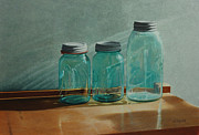 Blue Jar Posters - Ball Jars Take on Light Poster by Nancy Teague