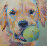 Golden Retriever Paintings - Ball by Kimberly Santini